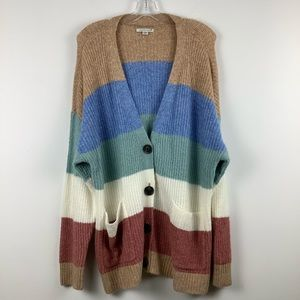 AEo Knit Multi-Colour Stripe Button Up Cardigan